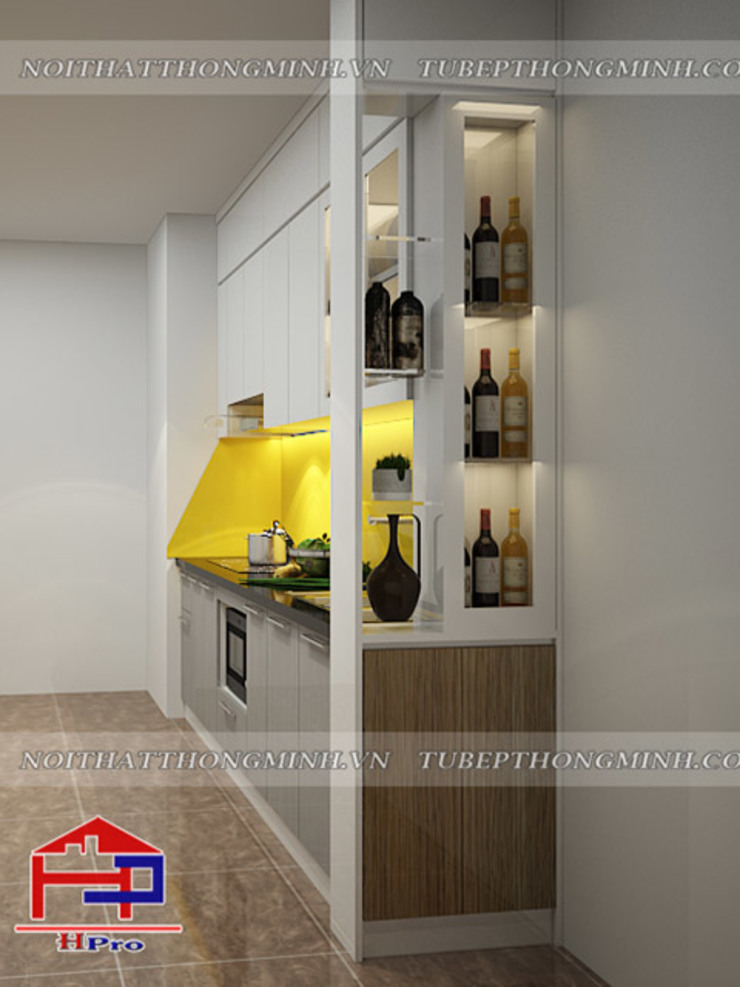 Ảnh thiết kế 3D vách ngăn phòng khách và nhà bếp nhà anh Điệp ở Athena Xuân Phương: hiện đại  by Nội thất Hpro, Hiện đại