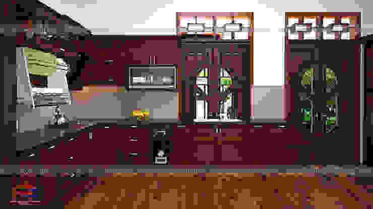 Ảnh thiết kế 3D tủ bếp gỗ hương chữ L nhà cô Vân ở Thanh Hóa: hiện đại  by Nội thất Hpro, Hiện đại