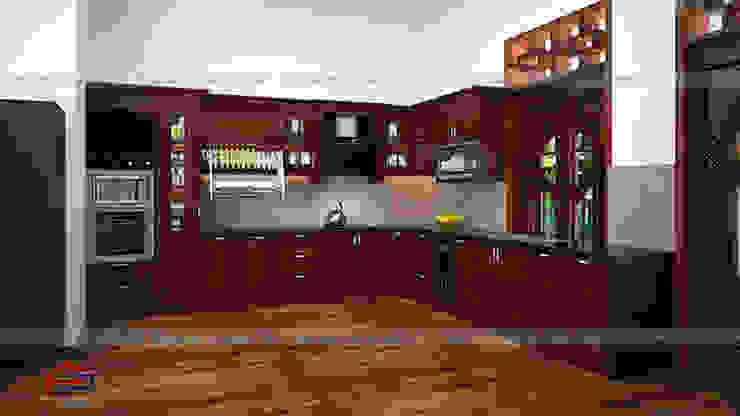 Ảnh thiết kế 3D tủ bếp gỗ hương nhà cô Vân ở Thanh Hóa: hiện đại  by Nội thất Hpro, Hiện đại