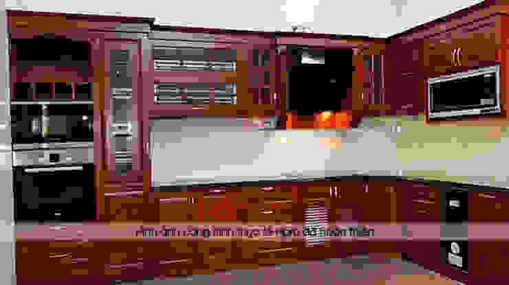 Hoàn thành thi công bộ tủ bếp gỗ hương nhà cô Vân ở Thanh Hóa: hiện đại  by Nội thất Hpro, Hiện đại