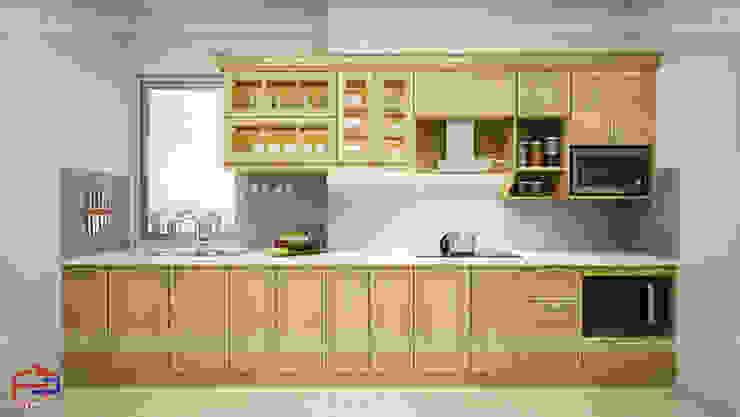 Ảnh thiết kế 3D tủ bếp gỗ sồi nga chữ I nhà anh Phương ở Ngoại Giao Đoàn: hiện đại  by Nội thất Hpro, Hiện đại