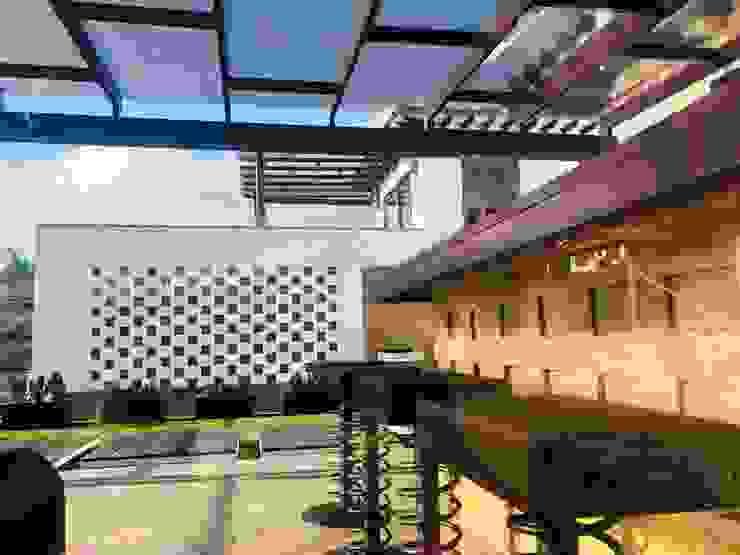 patio y bar: Terrazas de estilo  por cesar sierra daza Arquitecto, Rústico