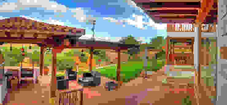 terraza Bar BQ Balcones y terrazas de estilo rústico de cesar sierra daza Arquitecto Rústico Cerámico