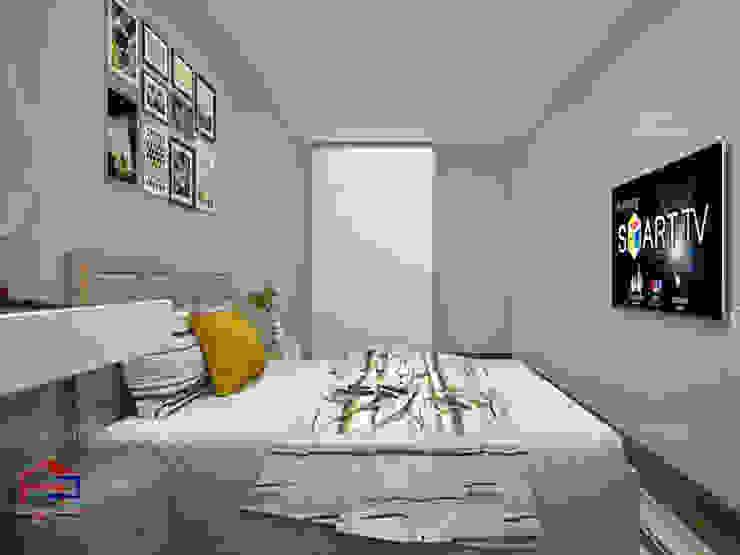 Thiết kế nội thất phòng ngủ nhà chị Hiền ở CC Ciputra: hiện đại  by Nội thất Hpro, Hiện đại