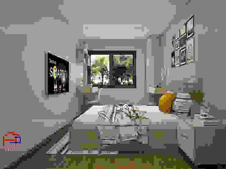 Ảnh thiết kế nội thất phòng ngủ gỗ melamine nhà chị Hiền ở CC Ciputra: hiện đại  by Nội thất Hpro, Hiện đại