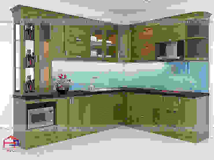 Ảnh thiết kế 3D tủ bếp gỗ sồi mỹ màu nâu trầm nhà chị Thúy Anh ở Mậu Lương: hiện đại  by Nội thất Hpro, Hiện đại