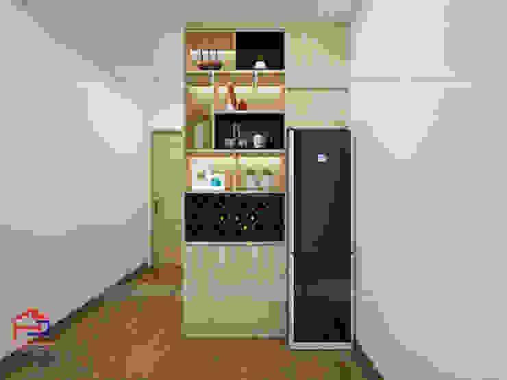Ảnh thiết kế 3D quầy trang trí phòng bếp laminate nhà chị Huyền ở Nguyễn Tuân: hiện đại  by Nội thất Hpro, Hiện đại