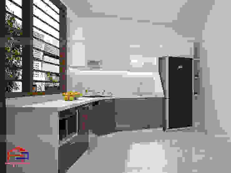 Ảnh thiết kế 3D tủ bếp acrylic chữ L nhà anh Toản ở Lạng Sơn: hiện đại  by Nội thất Hpro, Hiện đại