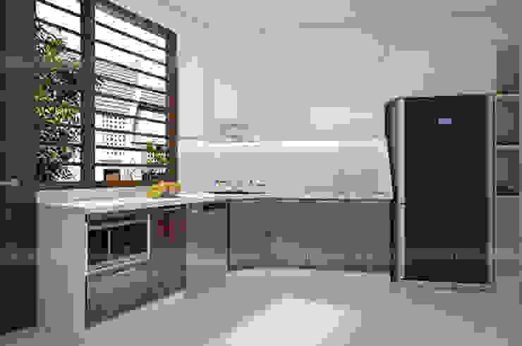 Ảnh thiết kế 3D tủ bếp acrylic chữ L nhà anh Toản tại Lạng Sơn: hiện đại  by Nội thất Hpro, Hiện đại