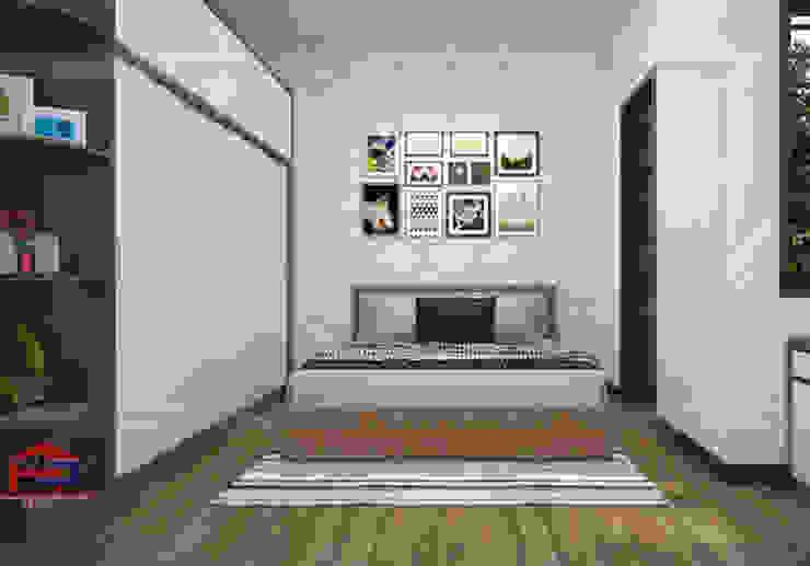 Ảnh thiết kế nội thất phòng ngủ master nhà anh Toản ở Lạng Sơn bản 3D: hiện đại  by Nội thất Hpro, Hiện đại