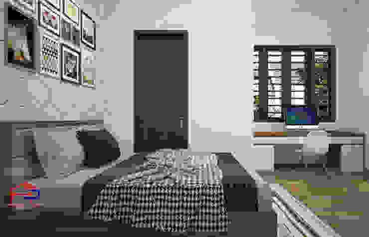 Ảnh 3D thiết kế nội thất phòng ngủ master nhà anh Toản ở Lạng Sơn: hiện đại  by Nội thất Hpro, Hiện đại