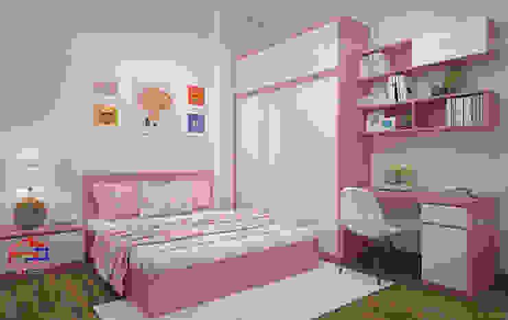 Ảnh 3D thiết kế phòng ngủ bé gái nhà anh Toản ở Lạng Sơn: hiện đại  by Nội thất Hpro, Hiện đại