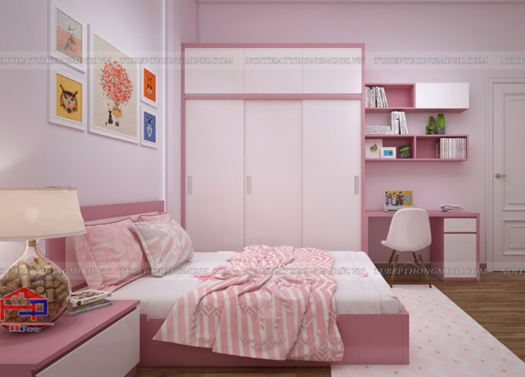 Ảnh thiết kế nội thất phòng ngủ bé gái nhà anh Toản tại Lạng Sơn: hiện đại  by Nội thất Hpro, Hiện đại