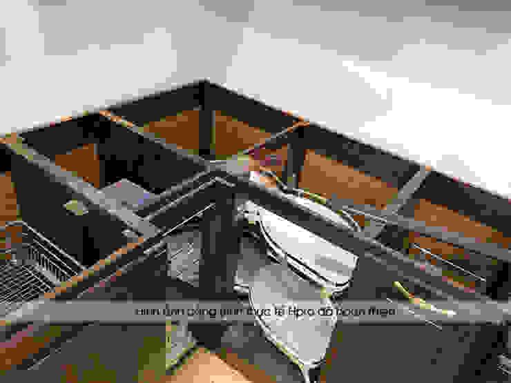 Ảnh thực tế phần tủ bếp gỗ óc chó dưới khi chưa hoàn thành lắp đặt: scandinavian  by Nội thất Hpro, Bắc Âu