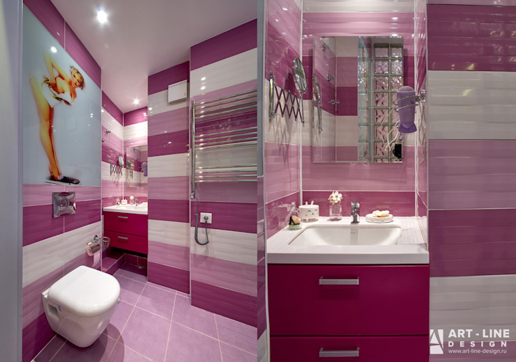 Art-line Design Mediterranean style bathrooms Purple/Violet