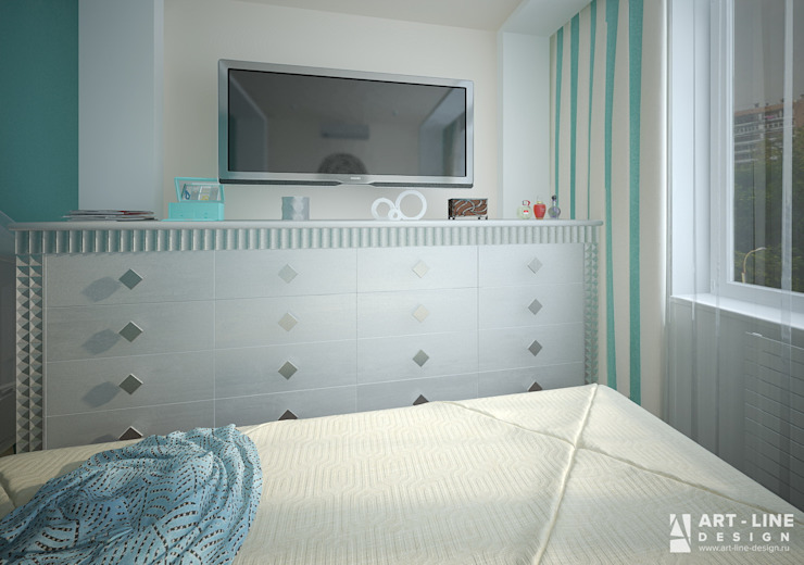 Art-line Design Camera da letto in stile scandinavo Turchese