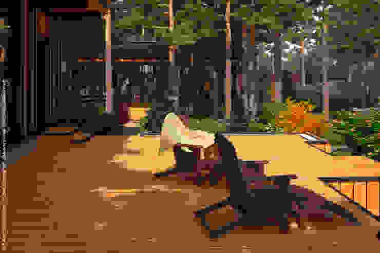 Мастерская ландшафта Дмитрия Бородавкина Scandinavian style balcony, porch & terrace Wood