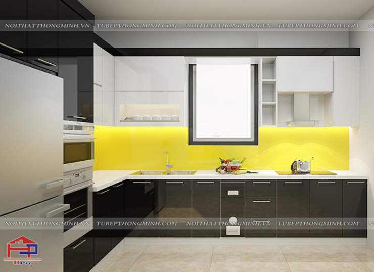 Ảnh thiết kế 3D tủ bếp acrylic An Cường nhà chị Hiền ở Xuân Trường Nam Định: hiện đại  by Nội thất Hpro, Hiện đại
