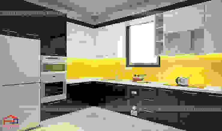 Ảnh thiết kế 3D tủ bếp acrylic bóng gương cao cấp nhà chị Hiền ở Nam Định: hiện đại  by Nội thất Hpro, Hiện đại