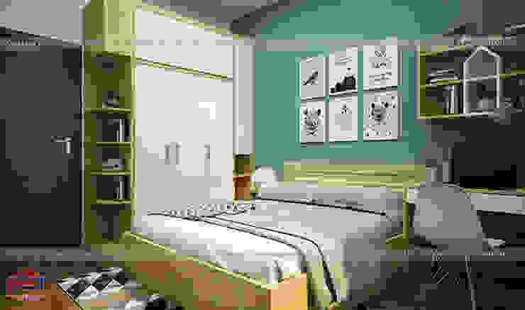 Ảnh thiết kế nội thất phòng ngủ cho bé gỗ melamine An Cường nhà chị Hiền tại Nam Định: hiện đại  by Nội thất Hpro, Hiện đại