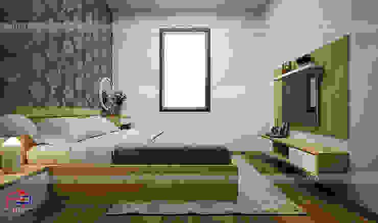 Ảnh thiết kế nội thất phòng ngủ master gỗ công nghiệp melamine An Cường nhà chị Hiền ở Nam Định: hiện đại  by Nội thất Hpro, Hiện đại