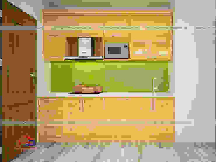 Ảnh thiết kế 3D tủ bếp gỗ sồi nga chữ I nhà chị Quỳnh ở Ngoại Giao Đoàn: hiện đại  by Nội thất Hpro, Hiện đại