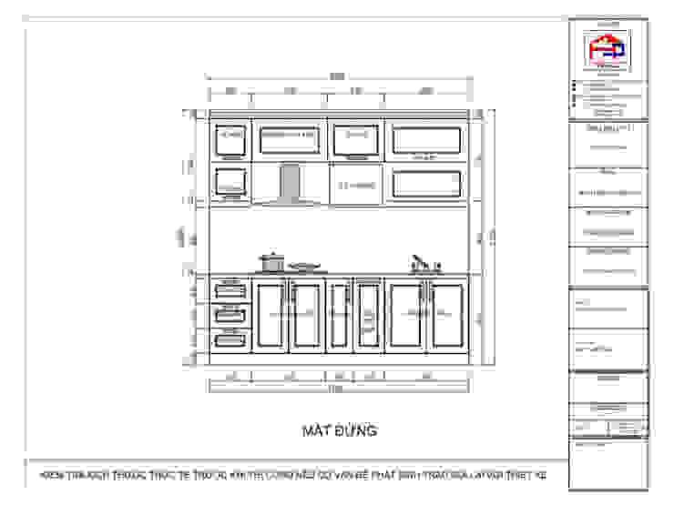 Bản vẽ chi tiết tủ bếp gỗ sồi nga kết hợp MDF sơn trắng nhà chị Quỳnh ở Ngoại Giao Đoàn - Mặt đứng: hiện đại  by Nội thất Hpro, Hiện đại