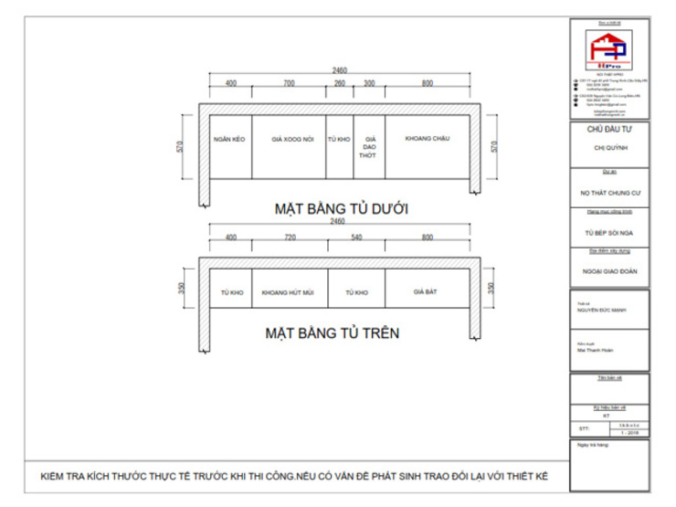 Bản vẽ chi tiết tủ bếp gỗ sồi nga kết hợp MDF sơn trắng nhà chị Quỳnh ở Ngoại Giao Đoàn - Mặt bằng: hiện đại  by Nội thất Hpro, Hiện đại