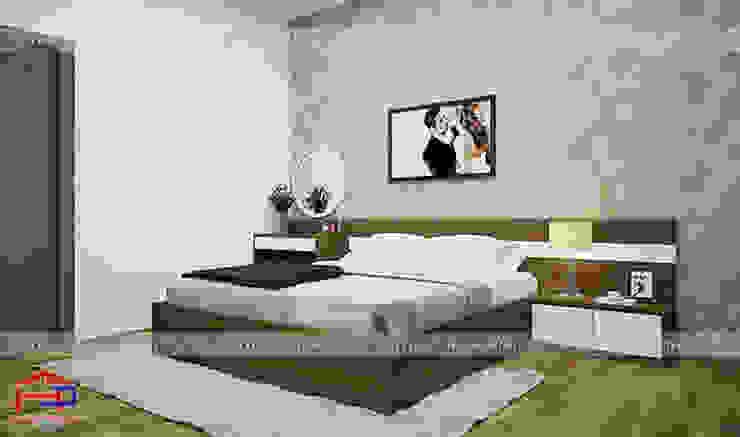Ảnh thiết kế nội thất phòng ngủ master nhà chị Tuyết ở Phú Thọ bởi Nội thất Hpro