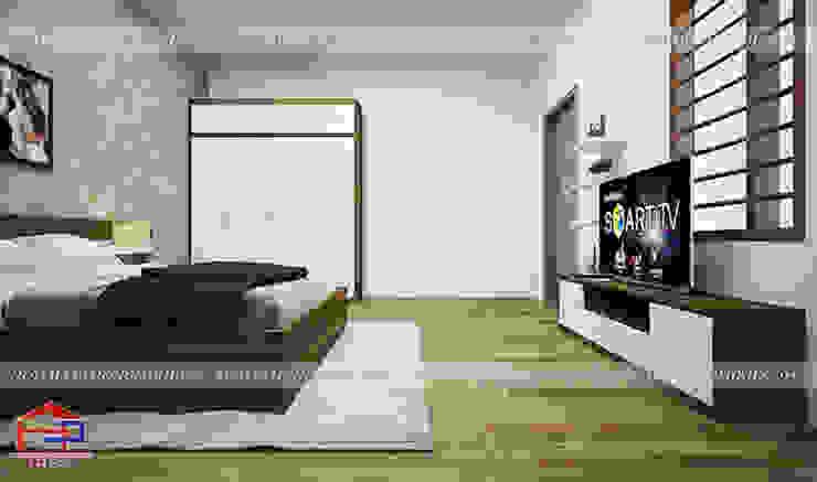 Ảnh 3D thiết kế nội thất phòng ngủ master cho vợ chồng nhà chị Tuyết ở Phú Thọ bởi Nội thất Hpro