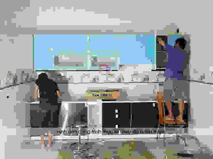 Thi công bộ tủ bếp acrylic cho nhà chị Tuyết ở Phú Thọ bởi Nội thất Hpro