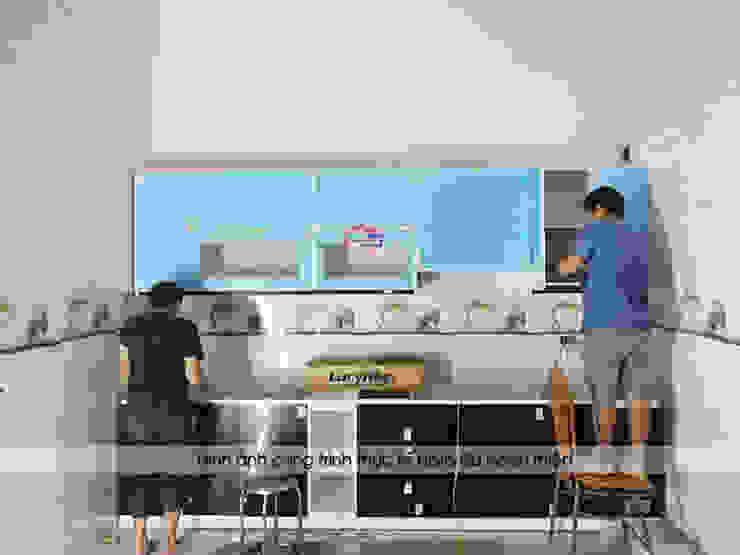 Tiến hành thi công bộ tủ bếp acrylic cho nhà chị Tuyết ở Phú Thọ bởi Nội thất Hpro