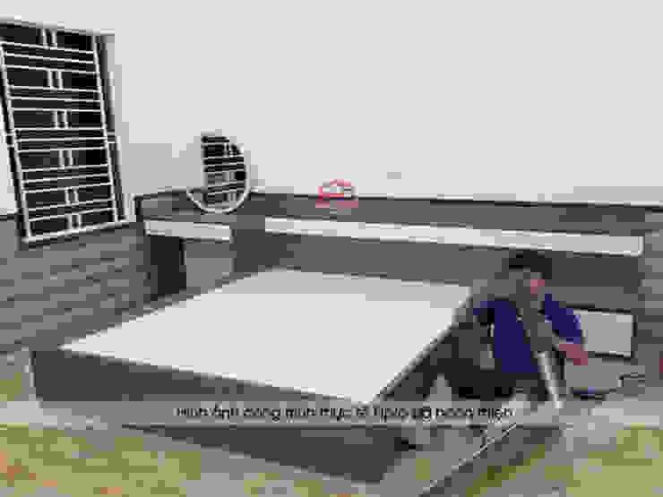 Thi công nội thất phòng ngủ master gỗ melamine cho nhà chị Tuyết ở Thị xã Phú Thọ bởi Nội thất Hpro
