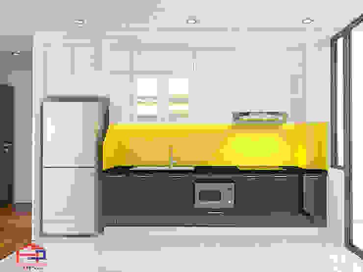 Ảnh thiết kế 3D tủ bếp acrylic chữ I nhà anh Thư ở HD Mon: hiện đại  by Nội thất Hpro, Hiện đại
