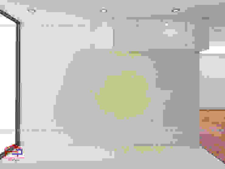 Ảnh thiết kế 3D tủ bếp acrylic nhà anh Thư tại HD Mon: hiện đại  by Nội thất Hpro, Hiện đại