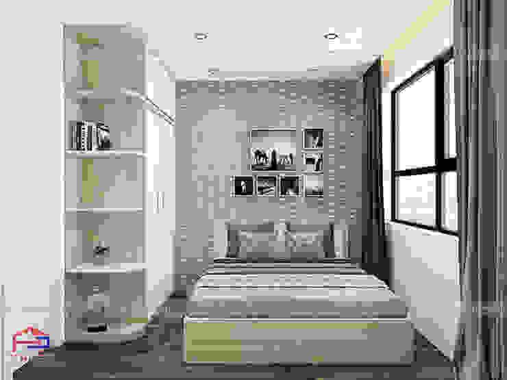 Ảnh 3D thiết kế nội thất phòng ngủ master gỗ công nghiệp melamine An Cường nhà anh Thư ở HD Mon: hiện đại  by Nội thất Hpro, Hiện đại