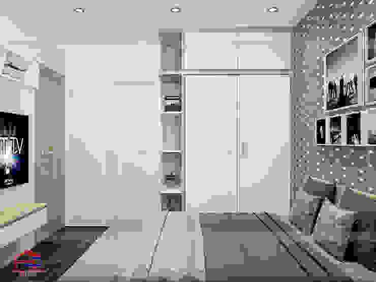 Ảnh 3D thiết kế nội thất phòng ngủ master gỗ công nghiệp melamine An Cường nhà anh Thư ở HD Mon - view 2: hiện đại  by Nội thất Hpro, Hiện đại