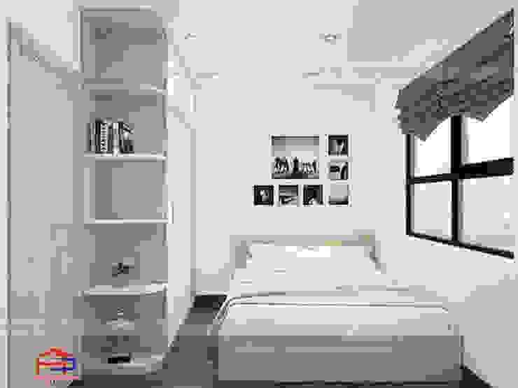 Ảnh 3D thiết kế nội thất phòng ngủ ông bà nhà anh Thư ở HD Mon: hiện đại  by Nội thất Hpro, Hiện đại