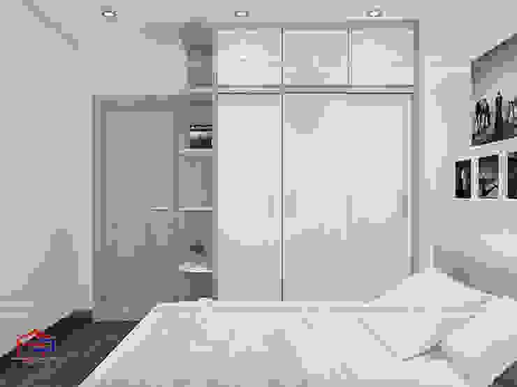 Ảnh 3D thiết kế nội thất phòng ngủ ông bà nhà anh Thư ở HD Mon - 2: hiện đại  by Nội thất Hpro, Hiện đại