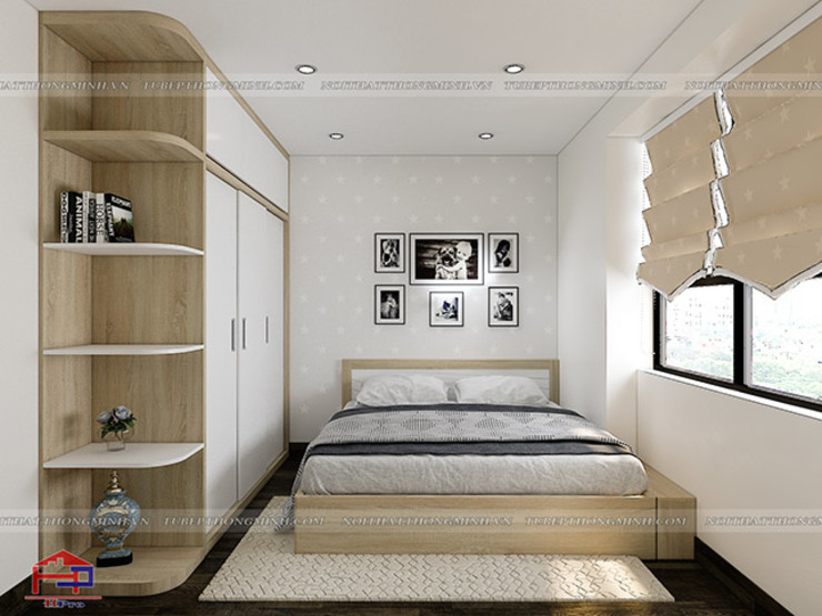 Ảnh 3D thiết kế phòng ngủ của bé nhà anh Thư ở HD Mon: hiện đại  by Nội thất Hpro, Hiện đại