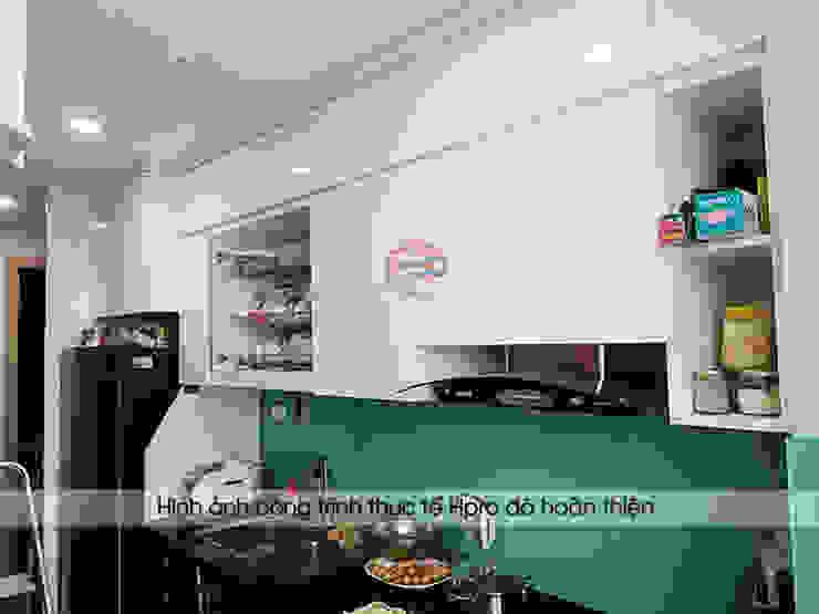 Ảnh thực tế tủ bếp acrylic nhà anh Thư ở HD Mon: hiện đại  by Nội thất Hpro, Hiện đại