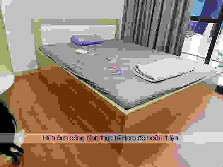 Ảnh thực tế giường ngủ gỗ melamine nhà anh Thư ở HD Mon: hiện đại  by Nội thất Hpro, Hiện đại