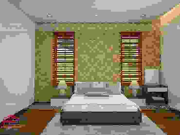 Ảnh 3D thiết kế nội thất phòng ngủ master nhà anh Năng ở Nam Định: hiện đại  by Nội thất Hpro, Hiện đại