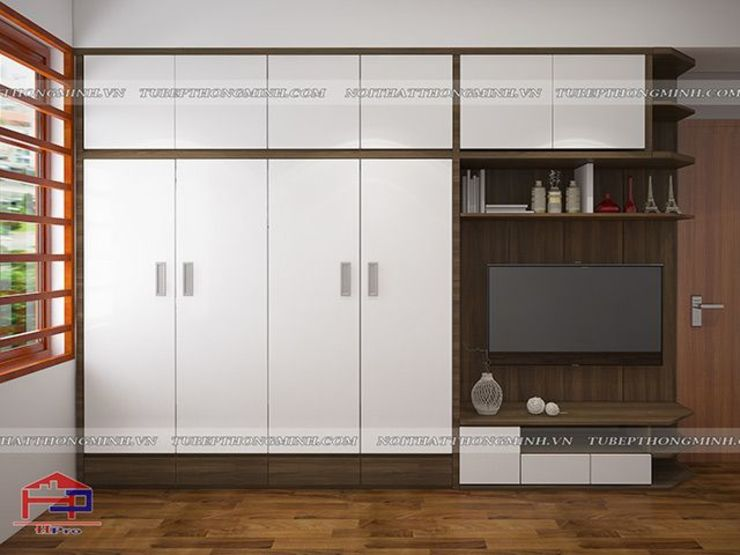 Ảnh 3D thiết kế nội thất phòng ngủ master nhà anh Năng ở Nam Định - Thiết kế kệ tivi đa năng: hiện đại  by Nội thất Hpro, Hiện đại