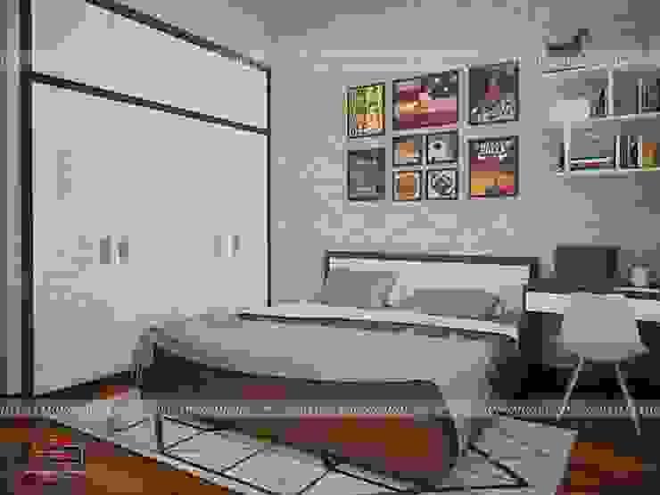 Ảnh 3D thiết kế nội thất phòng ngủ bé trai gỗ melamine nhà anh Năng ở Nam Định: hiện đại  by Nội thất Hpro, Hiện đại