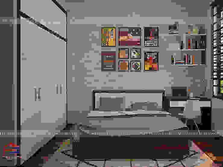 Ảnh 3D thiết kế nội thất phòng ngủ bé trai nhà anh Năng ở Nam Định - view 2: hiện đại  by Nội thất Hpro, Hiện đại