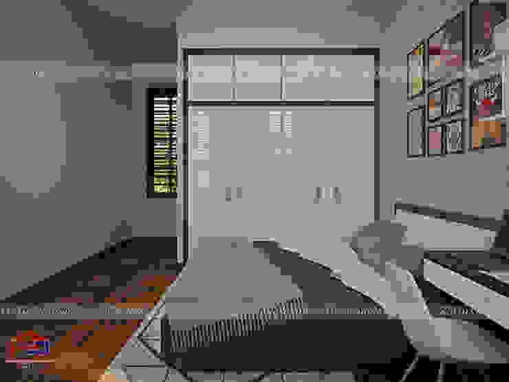 Ảnh 3D thiết kế nội thất phòng ngủ bé trai nhà anh Năng ở Nam Định - view 3: hiện đại  by Nội thất Hpro, Hiện đại