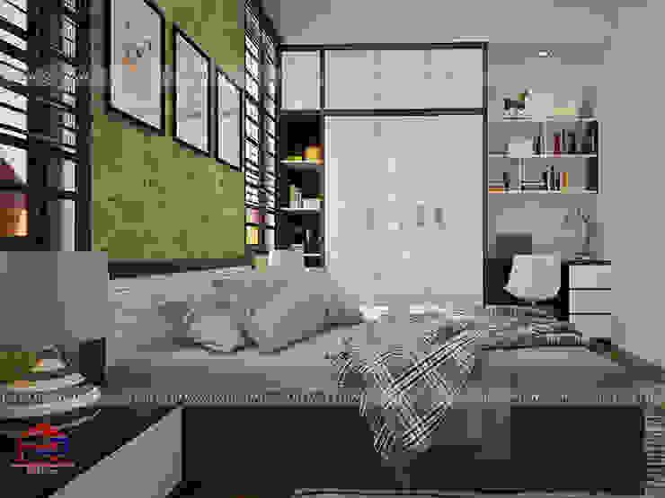 Ảnh 3D thiết kế nội thất phòng ngủ bé gái nhà anh Năng ở Nam Định: hiện đại  by Nội thất Hpro, Hiện đại