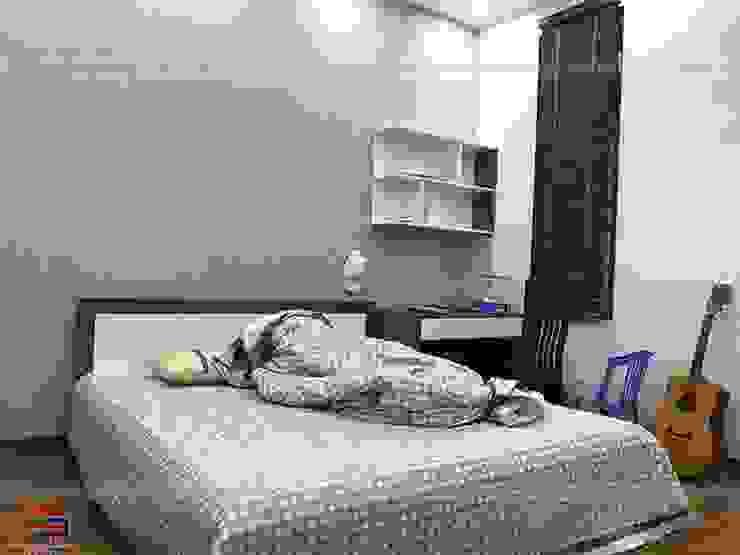 Ảnh thực tế góc học tập trong nội thất phòng ngủ bé trai nhà anh Năng ở Nam Định: hiện đại  by Nội thất Hpro, Hiện đại