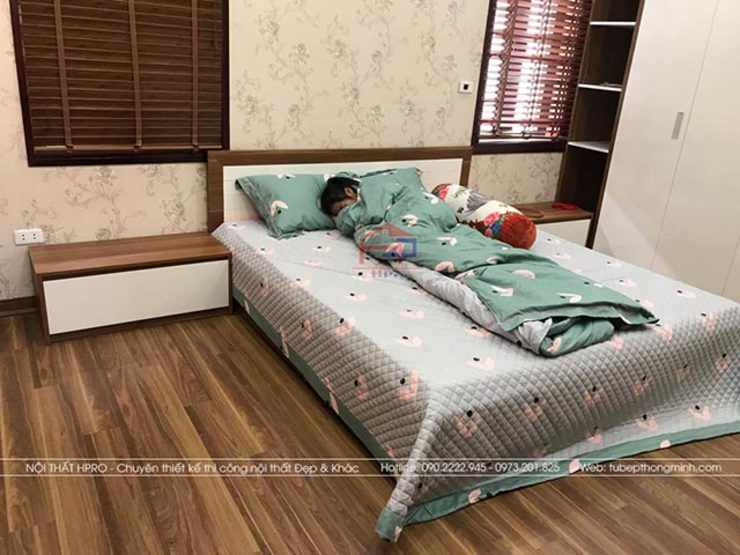 Ảnh thực tế nội thất phòng ngủ bé gái gỗ melamine nhà anh Năng ở Nam Định: hiện đại  by Nội thất Hpro, Hiện đại
